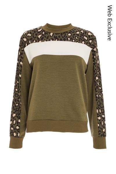 Khaki & Black Leopard Print Top